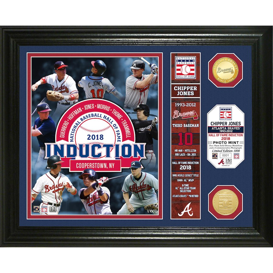 "Atlanta Braves Chipper Jones Highland Mint Class of 2018 National Baseball Hall of Fame Induction 13"" x 16"" Banner Bronze Coin Photo Mint"