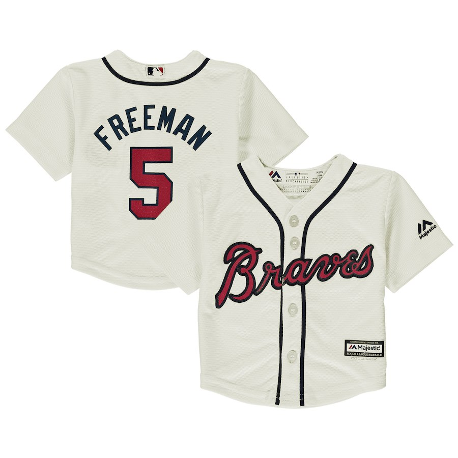 Infant Atlanta Braves Freddie Freeman Majestic Cream Alternate Official Cool Base Player Jersey