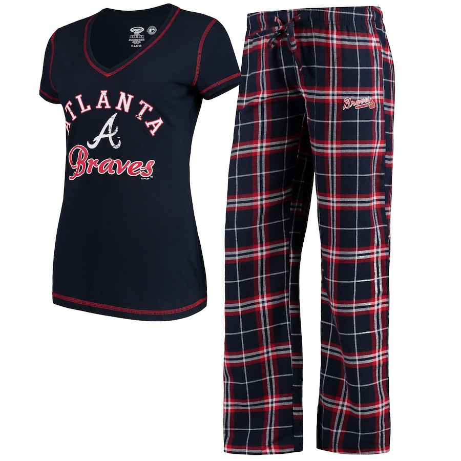 Women's Atlanta Braves Concepts Sport Navy Duo Pants & Top Set